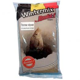 Прикормка зимняя Mondial-F Wintermix Roach Black Fluo 1 кг (Плотва, черный, запах червя)